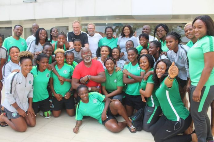 The NFF president of the Nigerian Football Federation Amaju Pinnick with Super Falcons