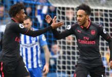 Super Eagles winger Alex Iwobi and Gabonese striker Pierre Emerick Aubameyang