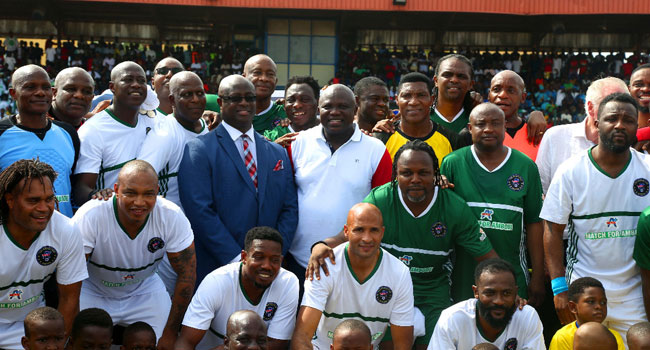 Kanu Nwankwo Releases An Awe-inspiring Video Supporting Ex-Governor Akinwumi Ambode At The Novelty Football Match