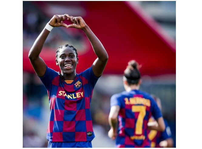 the best attitude 5fc8e 2db62 Finally! Oshoala opens new season's goals account as Barca ...